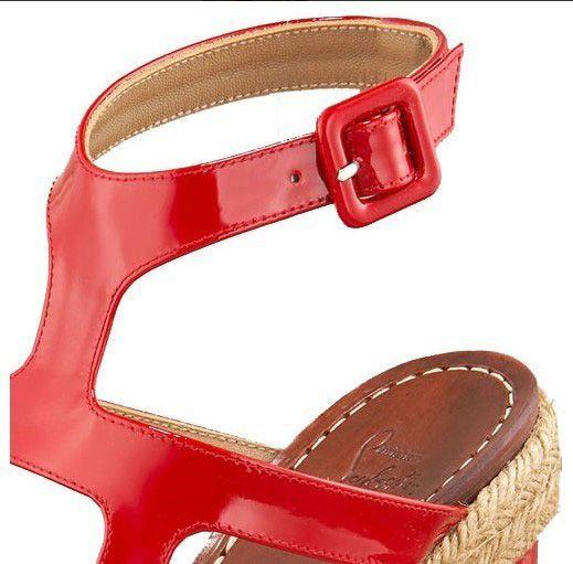 Chaussure Louboutin Pas Cher Sandale Rouge en Cuir Verni Talon Compensé Open-toes à Plateaux1 #shoes