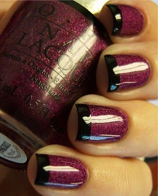 Not a big fan of dark polish but I am digging this look for my toes this fall!! OPI DS Extravagance Funky French & a Gradual Mani