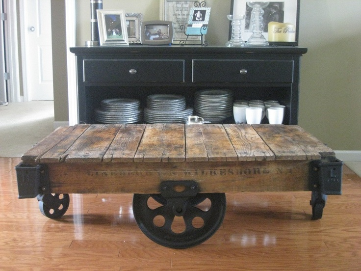 Antique Coffee Table End Table From Lineberry Thomas And Fairbanks Factory Cart Restored Oak Cast Iron