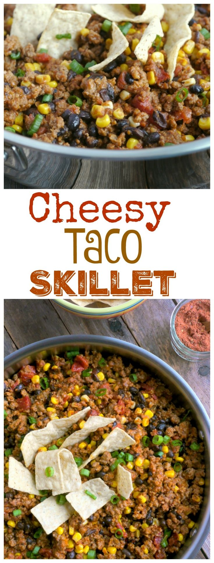 This delicious Cheesy Taco Skillet whips up in no…