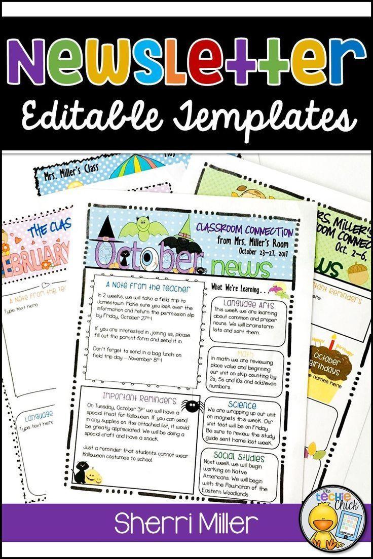 Editable Newsletter Template Instant Download Teacher Newsletter Event Newslet Parent Communication Forms Editable Newsletter Templates Parent Communication