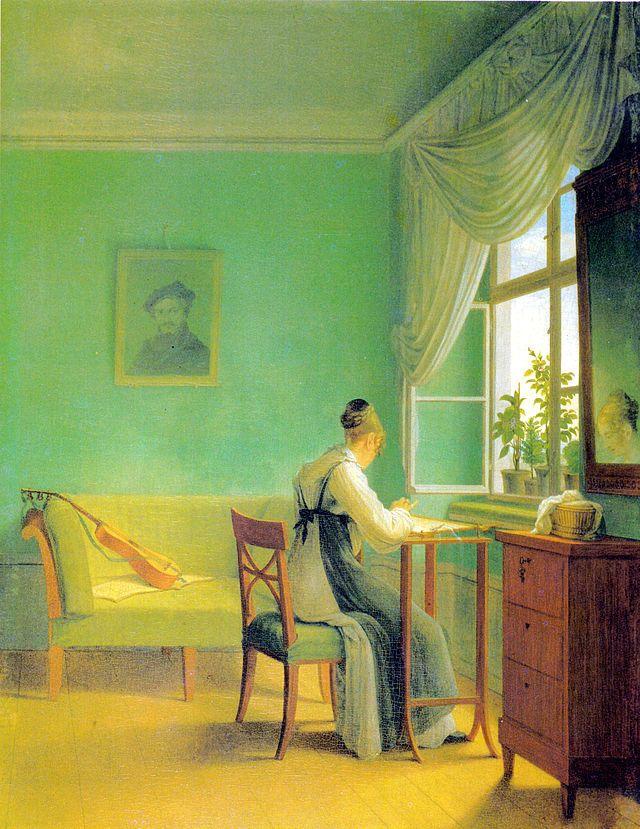 Geog Friedrich Kersting, Die Stickerin, terza versione, 1827 – Wikipedia