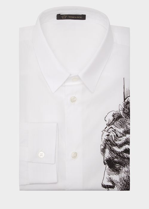 Versace Medusa  Cotton Shirt for Men | Official Website. Long sleeve, button front, straight cut, cotton shirt with a modern Medusa graphic.