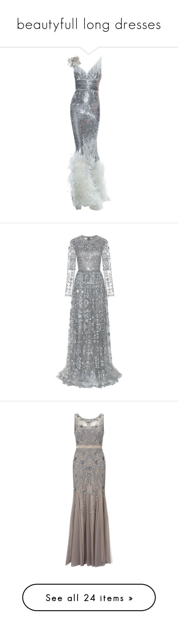 """beautyfull long dresses"" by sassi-mueller ❤ liked on Polyvore featuring dresses, gowns, long dresses, evening gowns, paillette dress, naeem khan gown, ostrich feather dress, metallic long dress, metallic dress and valentino"