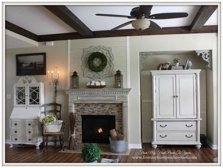 DIY Living Room Wood Beams