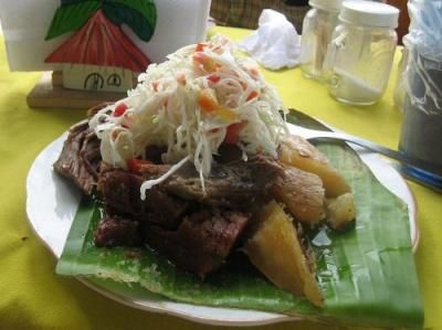 """Baho, or vaho, is one of the cornerstones of Nicaraguan cuisine. Beef, plantains and yuca (cassava) are wrapped in banana leaves and steamed over water in a large pot. Baho is food for a Sunday afternoon. Start the recipe on Saturday by marinating the meat. Vaho means """"mist"""" in Spanish and evokes the unique cooking method for this hearty meal."""
