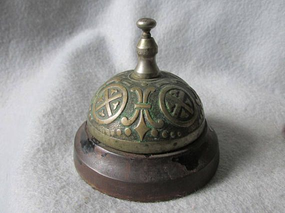 SOLD....Antique c1874 Hotel or Desk Bell with French Fleur de Lis