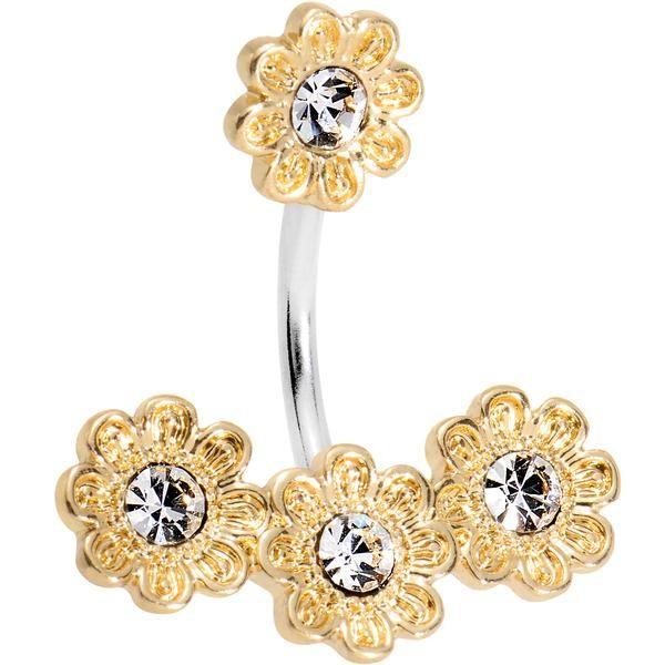 Clear Gem Golden Flower Power Double Mount Belly Ring