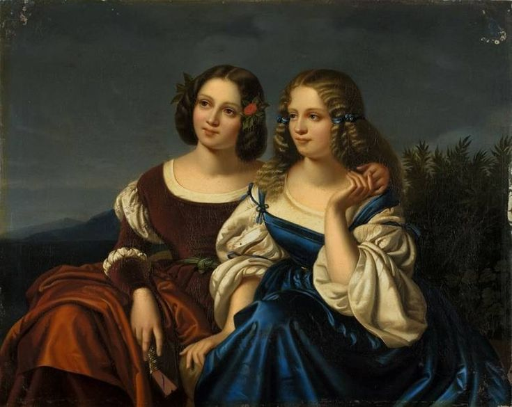 Begas, Carl / Two young ladies in a Landscape: