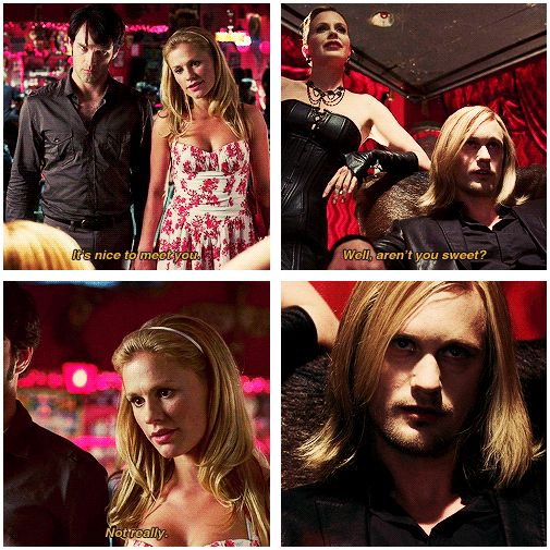 True Blood season 1 - Bill, Sookie, Eric, Pam. When Eric and Sookie first meet at Fangtasia! Eric's hair!