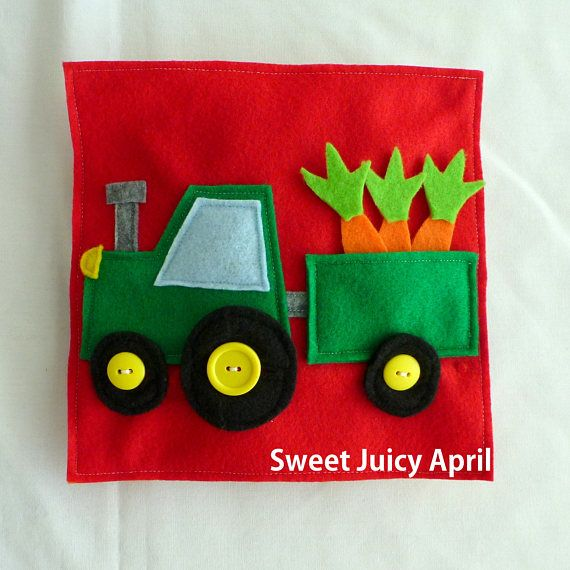 Tractor with Trailer page. Small tractor with a trailer that has carrots inside for child to take out and put back in. The tractor and trailer have wheels with buttons for child to practice buttoning skills. Can be made in any color scheme. All pages are made of felt and measure 8 x 8. *All items made in smoke-free and pet-free environment.* PLEASE NOTE: THIS PAGE CONTAINS SMALL PARTS THAT COULD BE A CHOKING HAZARD. NOT INTENDED FOR CHILDREN UNDER 3 YEARS OF AGE.