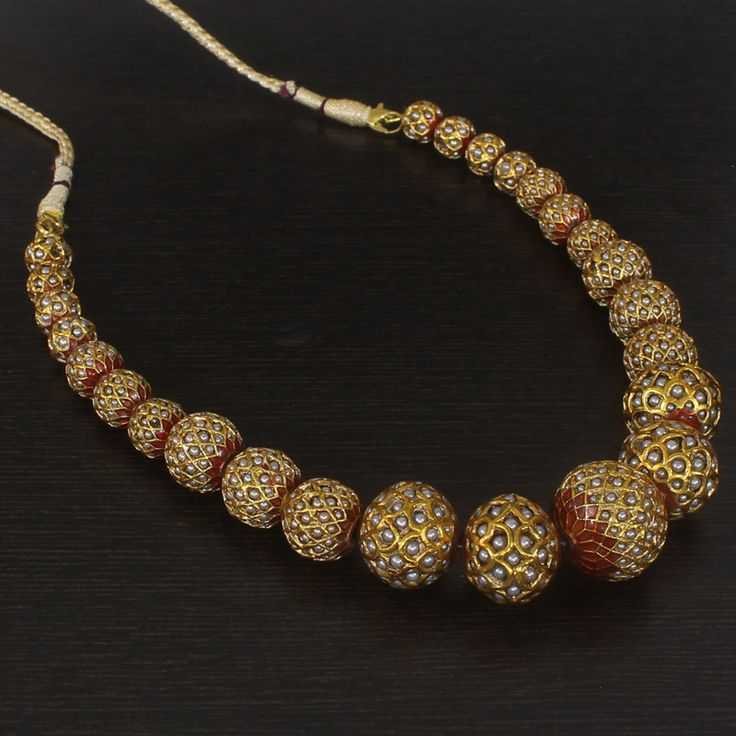 ARCHITA MALA NECKLACE Gold Plated Red Enamel Faux Pearl Golden Bead