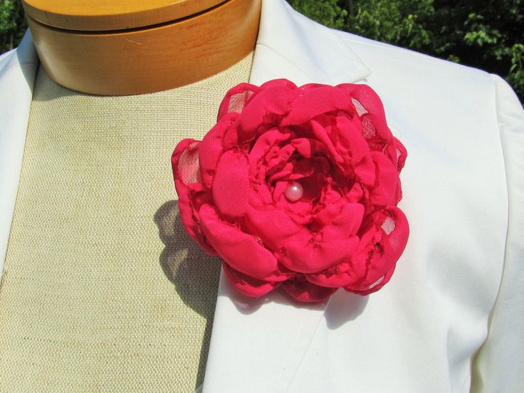 Fuschia Chiffon Flower Pin/ Hair Clip/ Bridal Sash with Pearl Bead Center by BROWNIESBOWTIQUE on Etsy
