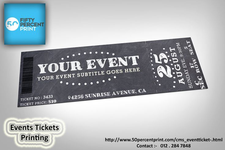 Fifty percent print event ticket printing specializes in fast, secure & affordable printing services. You can approach us to custom Ticket Printing of your vouchers / tickets with top & bottom or left & right perforated. Each order can comes bound in books of 50 / 100 tickets and with numbering and perforation lines as well up on request. #EventTicketPrinting, #TicketPrintingMalaysia, #PrintingMalaysia. @http://www.50percentprint.com/cms_eventticket-.html