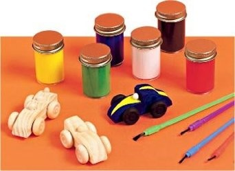 wooden race car craft kit package of 12 toys