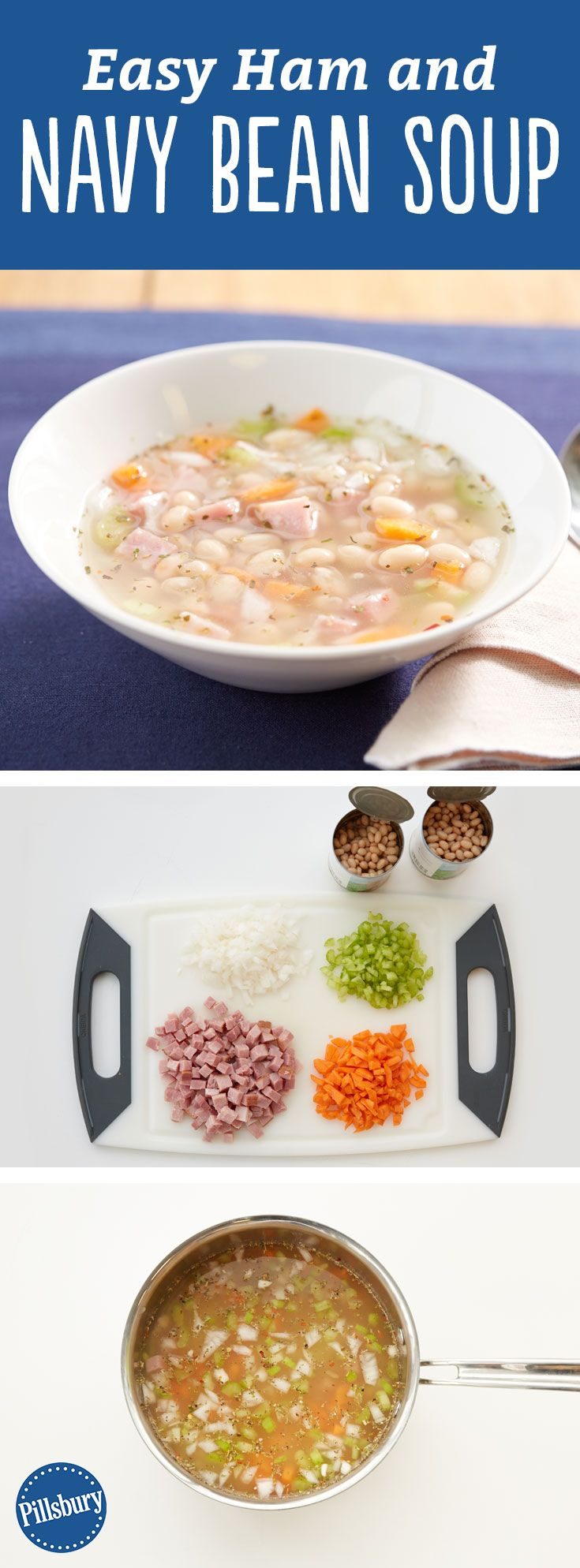 This easy + hearty soup tastes like something your grandma would make, in the very best possible way. Packed with ham, navy beans and veggies, it's ready to go in about half an hour. Mashing some of the beans before adding to the soup is the secret to the deliciously creamy texture. Tips: Try using chopped cooked chicken in place of the ham. One teaspoon Italian seasoning can be substituted for the Tuscan seasoning.