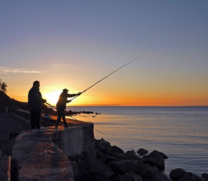Sunset on Mornington Pier Fishing. Mornington Peninsula, Victoria, Australia.