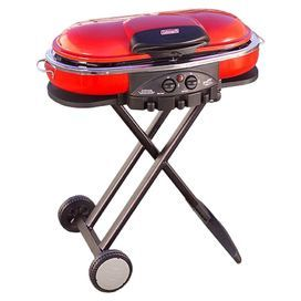 Portable propane grill with built-in tool holders and side tables. Includes two cast iron porcelain-coated grill grates.Product: GrillConstruction Material: SteelColor:  Red       Features:   Consistent cooking performance even in cold weather, high altitudes and when fuel is low    Grill, griddle or stove surfaces    Matchless lighting    Operates on 16.4 oz. propane cylinder - not included Dimensions: 35 H x 41 W x 18 D