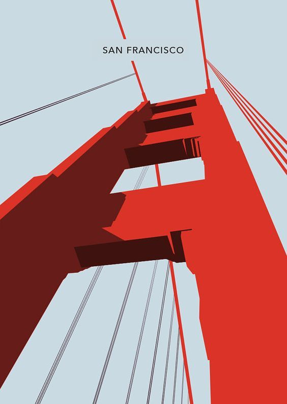 San Francisco - The Golden Gate Bridge Poster, Art Print, City Poster.  Sizes available: A3 (11.7 x 16.5 in)  • • • • • • • • • • • • • • • • • • • •: