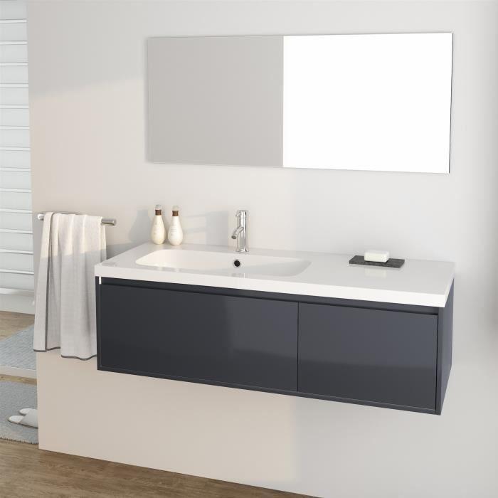 Girona Ensemble Meubles De Salle De Bain Simple Vasque L 120 Cm Gris Laque Brillant Bathroom Decor Lighted Bathroom Mirror Bathrooms Remodel