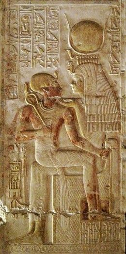Relief of Isis and the Pharaoh Seti I at Abydos