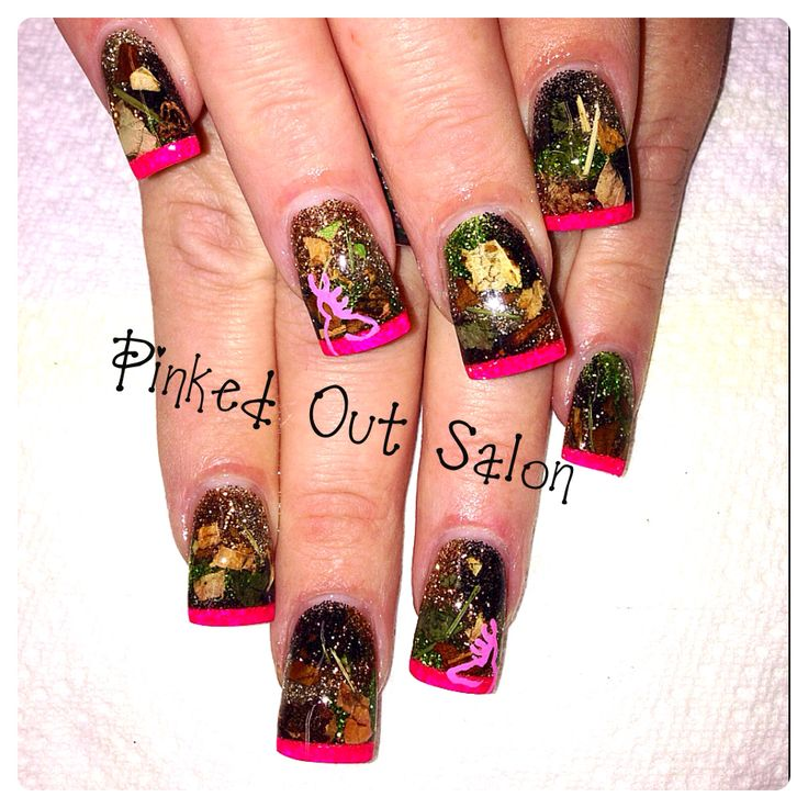 Camo nails i like these ones because they look like the actual real camo.  maybe should have orange tips tho instead of pink. - 10 Best Hunting Camo Nails Images On Pinterest Camo Nails