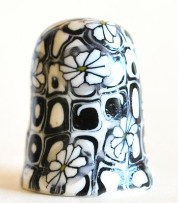 Black and White Flower Collectible Thimble Handmade Polymer Clay | bluemorningexpressions - Novelty on ArtFire