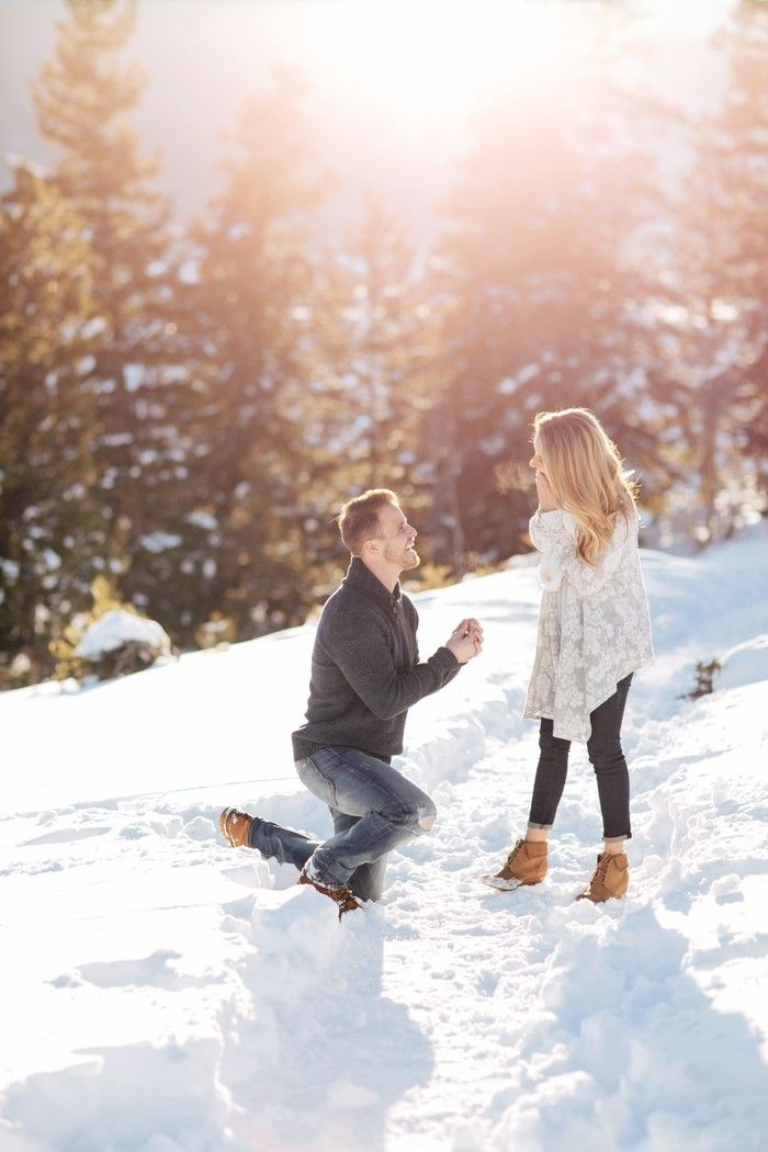 This snowy proposal in the Rocky Mountains has us swooning. <3