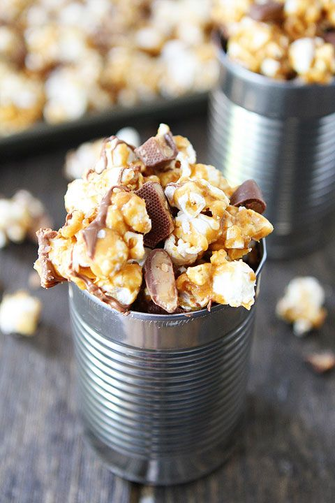 Butter Toffee Heath Popcorn Recipe on twopeasandtheirpod.com This sweet popcorn snack is great for movie night, game day, or any day!
