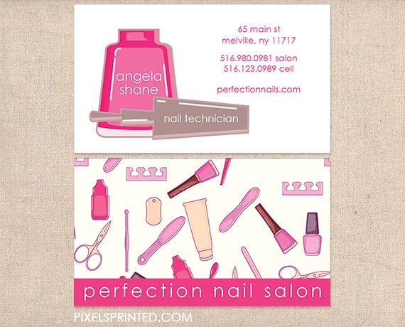 nail salon business cards, nail technician business cards