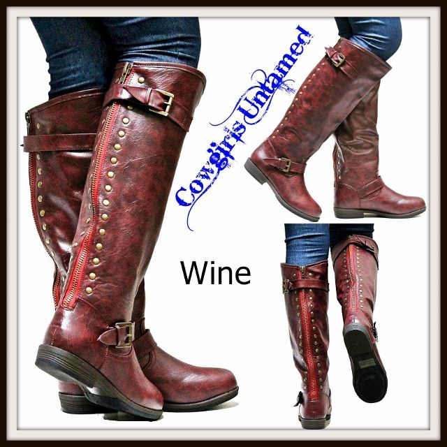 COWGIRL STYLE BOOTS Red Studded Buckle Accent Back Zipper Leather Western Riding Boots