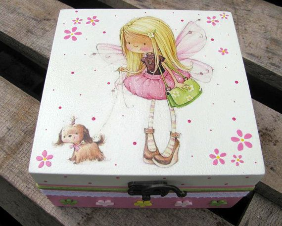 Cute wooden memory girl box  personalized box  made by KlotoCute