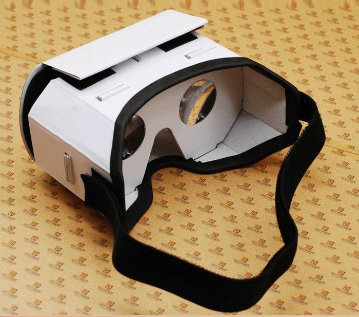 jeder von uns kann solche weiße vr brille selber bauen hier sind vr brille und ein schwarzes gummiband