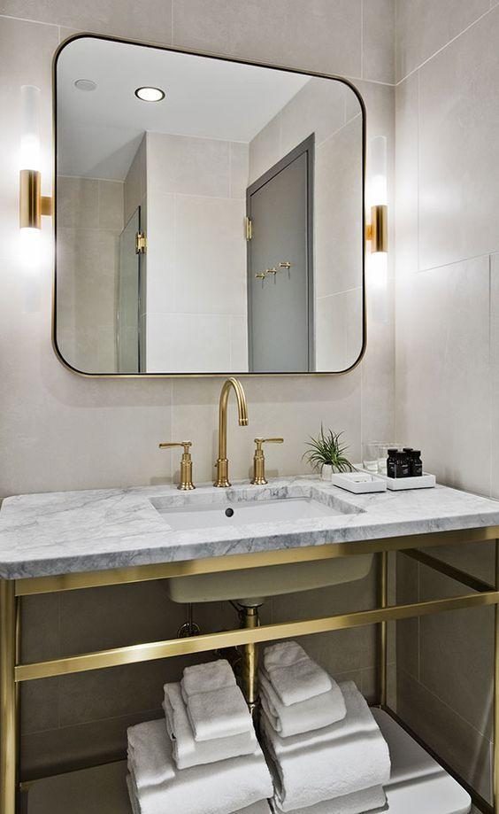 Console vanity | Satin Brass | Unlaquered Brass | Uncoated Polished Brass | Modern bath
