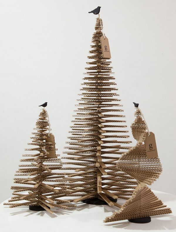 Cardboard Christmas trees are another alternative to real and plastic trees.These were designed by Giles Miller.