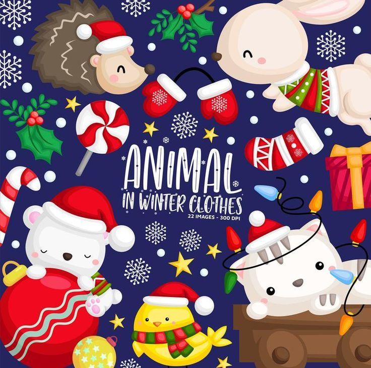 Winter Animal Clipart Christmas Animal Clip Art Santa Etsy Christmas Clipart Winter Animals Animal Clipart