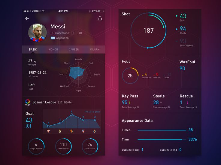 Soccer Player Data Page