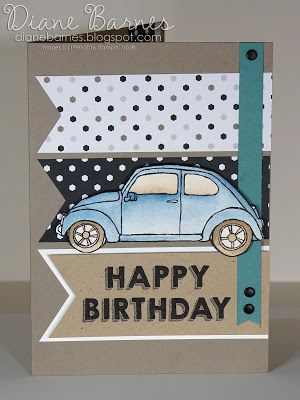 vw bug masculine birthday card for Just Add Ink challenge 305 - using Stampin Up Beautiful Ride & Party Wishes stamps. By Di Barnes #colourmehappy 2016 Occasions Catalogue
