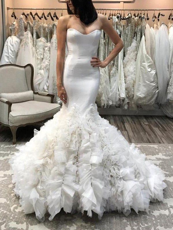 Trumpet Mermaid Sweetheart Sleeveless Court Train Organza Wedding Dresses Satin Mermaid Wedding Dress Ruffle Wedding Dress Wedding Dress Organza