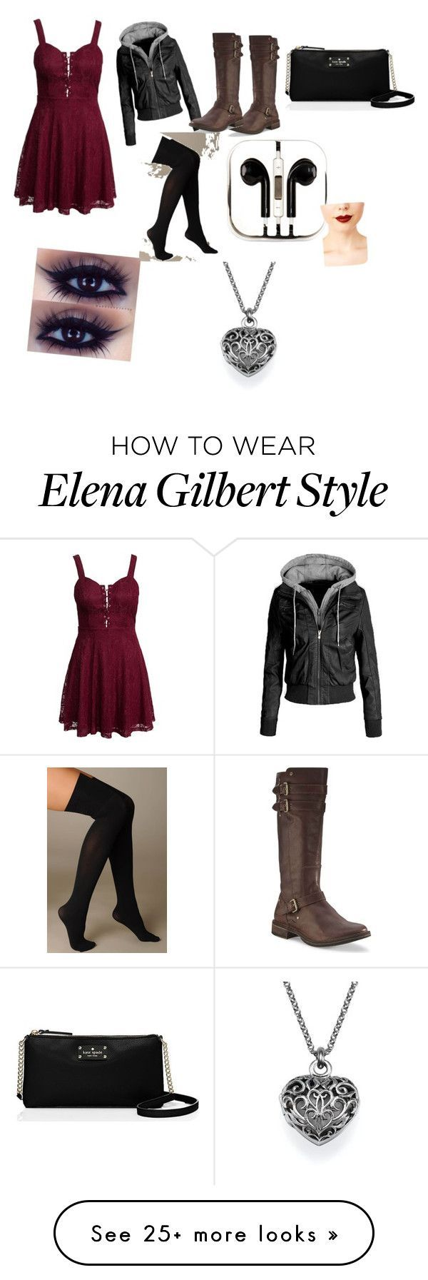 Old Elena Gilbert Inspired by brebre2003 on Polyvore featuring moda, New Look, UGG Australia, Hue, Kate Spade, PhunkeeTree e Jeffree Star