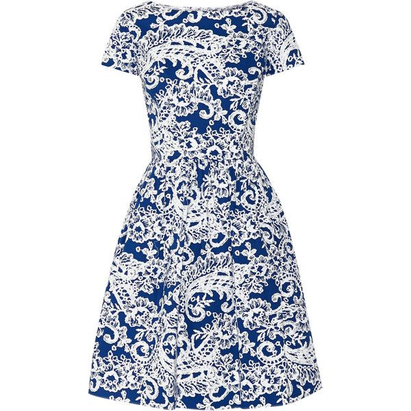 Oscar de la Renta Printed stretch-cotton dress ($710) ❤ liked on Polyvore featuring dresses, bright blue, loose fitting dresses, white pleated dress, white color dress, white colour dress and bright blue dress