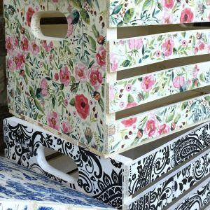 DIY repurposed projects to sell at a vintage market - decoupage crates, framed cork boards, and drawer shelves #MassageTablesNow