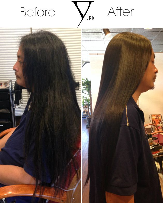 Before And After YUKO Hair Straightening! Gentlemen too want more manageable and healthy hair. Book your appointment today! #yukohairstraightening #yuko #hair #Japanesestraightening #menhair
