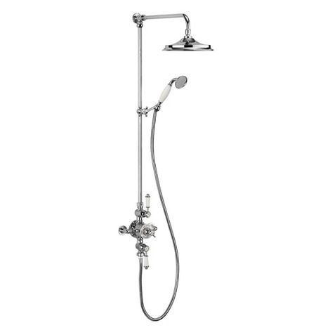 Grand thermostatic exposed shower valve with rigid riser, watercan head and handshower