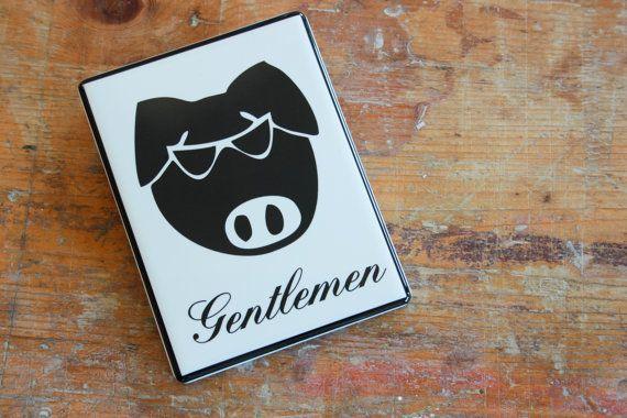Country Gentlemen - cartello bagno in ceramica
