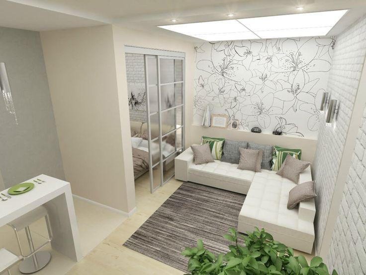 Современный дизайн однокомнатной квартиры площадью 45 квадратных метроввыполнен в светлых тонах, позволяющих сделать пространство визуально более просторным. С той же целью решено было незонироватьспальню стенами, а использовали для ее выделения раздвигающиеся перегородки. Такой белый интерьер еще удобен и тем, что хозяева всегда могут что-то поменять в интерьере добавив несколько цветных акцентов. Архитектор:Гром Мария. Facebook ВКонтакте Далее