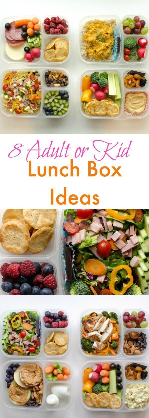 8 Wholesome Lunch-Box Ideas for Adults or Kids! packed in /easylunchboxes/ containers