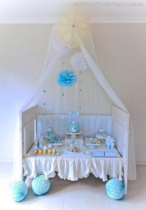 Adorable Shower Themed Baby For Boy In Love This Using The Crib As Food Table