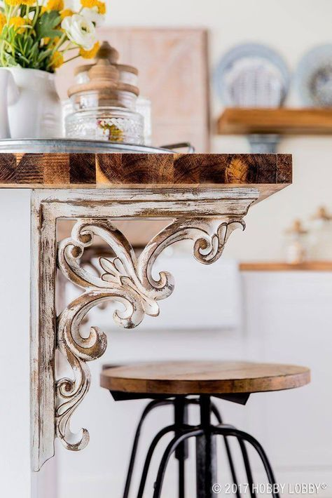 Victorian Corbel Ideen für Kücheninseln #farmhousedecorlighting Rustic Decor …