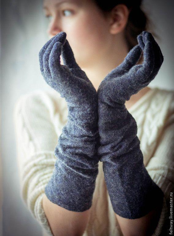 Купить Перчатки длинные войлок - черный, перчатки женские, перчатки длинные, перчатки зимние